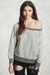 Forever 21 Reverse French Terry Sweatshirt Heather Grey