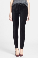 7 For All Mankind High Waist Velvet Skinny Pants Black