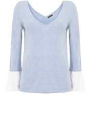 Mint Velvet Cloud Fluted Cuff V Neck Knit Blue