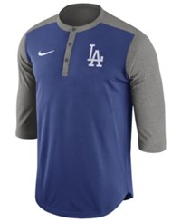 Nike Men's Los Angeles Dodgers Dri Fit 3 4 Sleeve Henley T Shirt Charcoal Royalblue
