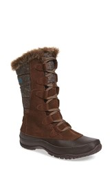 The North Face Women's 'Nuptse Purna' Waterproof Primaloft Eco Insulated Winter Boot Dark Earth Brown Storm Blue