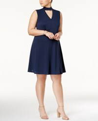 Ing Trendy Plus Size Cutout A Line Dress Navy