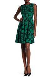 Anne Klein Circle Print Fit And Flare Dress Green