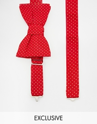 Reclaimed Vintage Polkadot Bow Tie Red