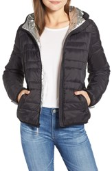 Marc New York Hooded Packable Jacket Black Silver