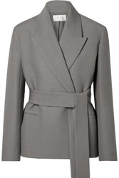 The Row Jenia Belted Wool And Silk Blend Jacket Gray