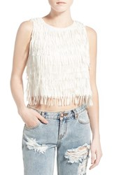 Women's The All Flower Creative 'Life' Fringe Crop Top White