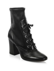 Gianvito Rossi Stretch Leather Lace Up Block Heel Booties Black