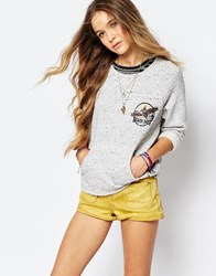 Billabong Beach Days Slouchy Sweatshirt With 3 4 Sleeves White