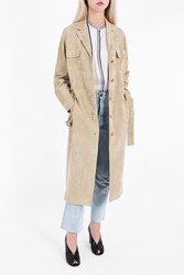 The Row Women S Zoe Perforated Suede Coat Boutique1 Beige