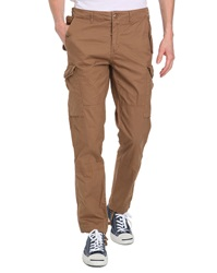 Schott Nyc Beige Poplin Fitted Cargo Trousers
