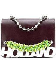 House Of Holland Branded Top Handle Bag Brown