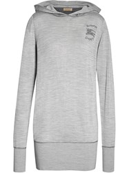 Burberry Embroidered Silk Cashmere Hoodie Grey