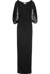 Amanda Wakeley Cape Effect Silk Chiffon And Matelasse Gown