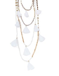 Design Lab Lord And Taylor Tiered Tassel Beaded Necklace White