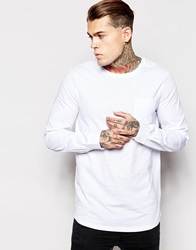 Asos Long Sleeve T Shirt With Woven Shirt Sleeves White