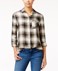 Polly And Esther Juniors' Herringbone Plaid Shirt Olive White