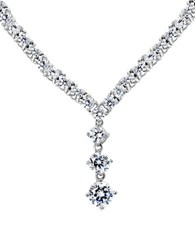 Lord And Taylor Cz Sterling Silver Triple Drop Pendant Necklace