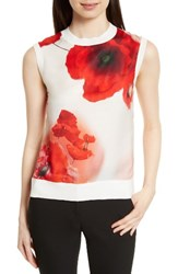 Ted Baker Women's London Maidai Poppy Woven And Knit Top White