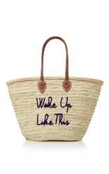 Poolside La Plage Embroidered Straw Tote Blue