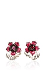 Ranjana Khan Pink Crystal Flower Earrings With Garnets