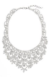 Cristabelle Women's Crystal Bib Necklace Silver
