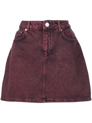 Ganni Short Denim Skirt Red