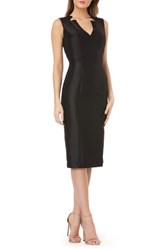 Kay Unger Bead Embellished Mikado Cocktail Dress Black