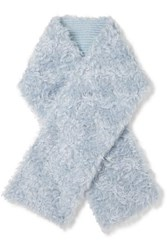 Miu Miu Reversible Mohair And Cotton Blend Faux Shearling And Wool Scarf Sky Blue