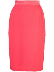Fleur Du Mal Grommet Pencil Skirt Red