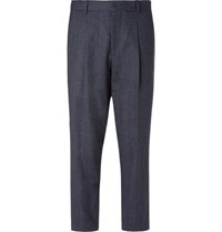 Mr P. Navy Pleated Prince Of Wales Checked Wool And Cotton Blend Trousers
