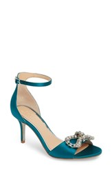 Jewel Badgley Mischka Miguela Crystal Bow Sandal Amazon Green Satin