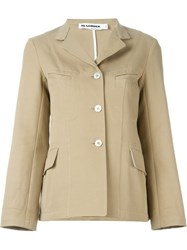 Jil Sander Classic Collar Flared Jacket Nude And Neutrals