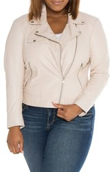 Slink Jeans Plus Size Women's Crop Leather Moto Jacket Pink