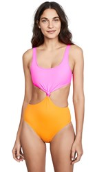 Solid And Striped Bailey Swimsuit Pink Orange