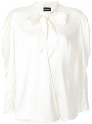 Magda Butrym Pussy Bow Blouse White