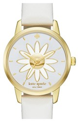 Women's Kate Spade New York 'Metro Flower' Leather Strap Watch 26Mm White Mother Of Pearl