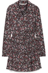 Veronica Beard Rory Floral Print Silk Blend Crepe De Chine Mini Dress Black