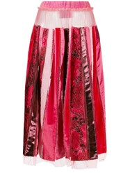 Viktor And Rolf Recycled Pleated Skirt Red