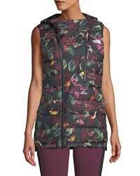 The North Face Niche Hooded Floral Puffer Vest Black Pattern
