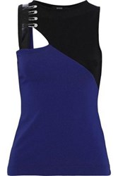 Versus By Versace Woman Cutout Embellished Two Tone Cady Tank Navy
