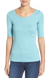 Halogen Petite Women's Caslon Ballet Neck Tee Teal Water