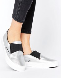 New Look Leather Metallic Slip On Trainers Silver