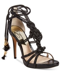 Inc International Concepts Women's Sandraa Braided Ankle Tie Dress Sandals Only At Macy's Women's Shoes Black