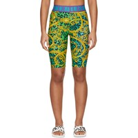 Versace Jeans Couture Green And Gold Leopard Print Barocco Bike Shorts