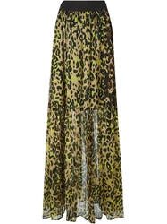 Marco Bologna Long Leopard Print Skirt Black