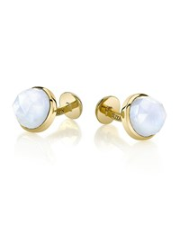 Round Rose Cut Moonstone Cuff Links Men's Blue Suzanne Felsen