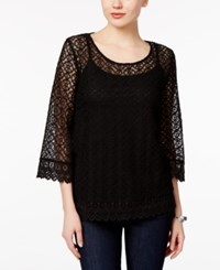 Styleandco. Style Co. Bell Sleeve Lace Top Only At Macy's Deep Black