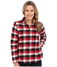 Woolrich Pemberton Fleece Lined Flannel Shirt Jacket Old Red Buffalo Women's Long Sleeve Button Up