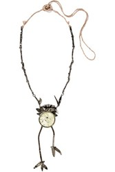 Valentino Oxidized Silver Plated Crystal Necklace Gunmetal